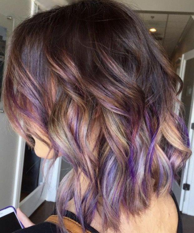 Brown Hair With Purple Grey And Blonde In 2020 Hair Styles Purple Brown Hair Hair Highlights