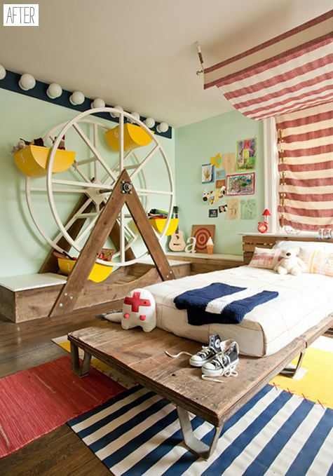 Circus Themed Kid's Room http://www.designsponge.com/2010/05/before-after-kate-dixons-circus-room.html