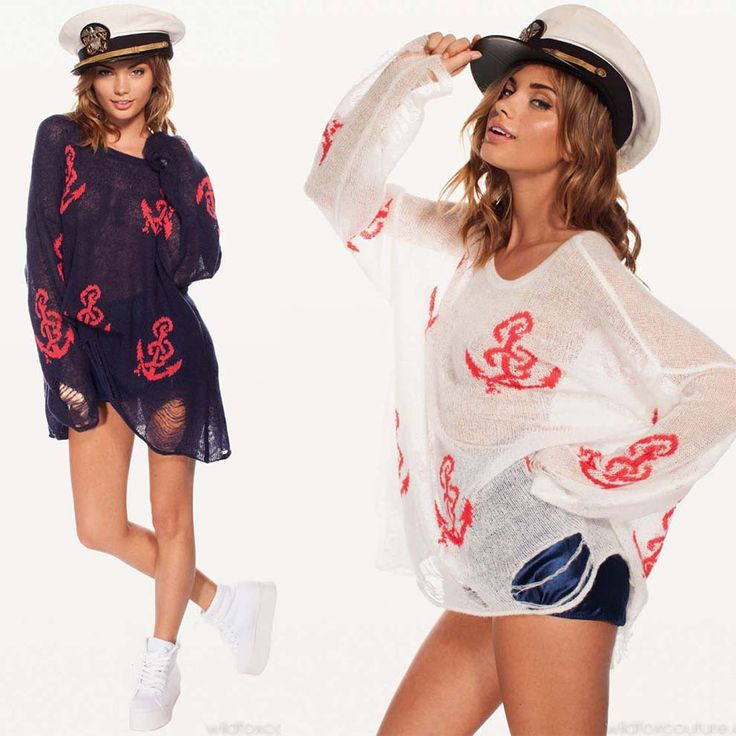 [SEKKES] 2013 Spring/Autumn Fashion Sweater Women Printted Anchor Sweater Knitwear SWT012