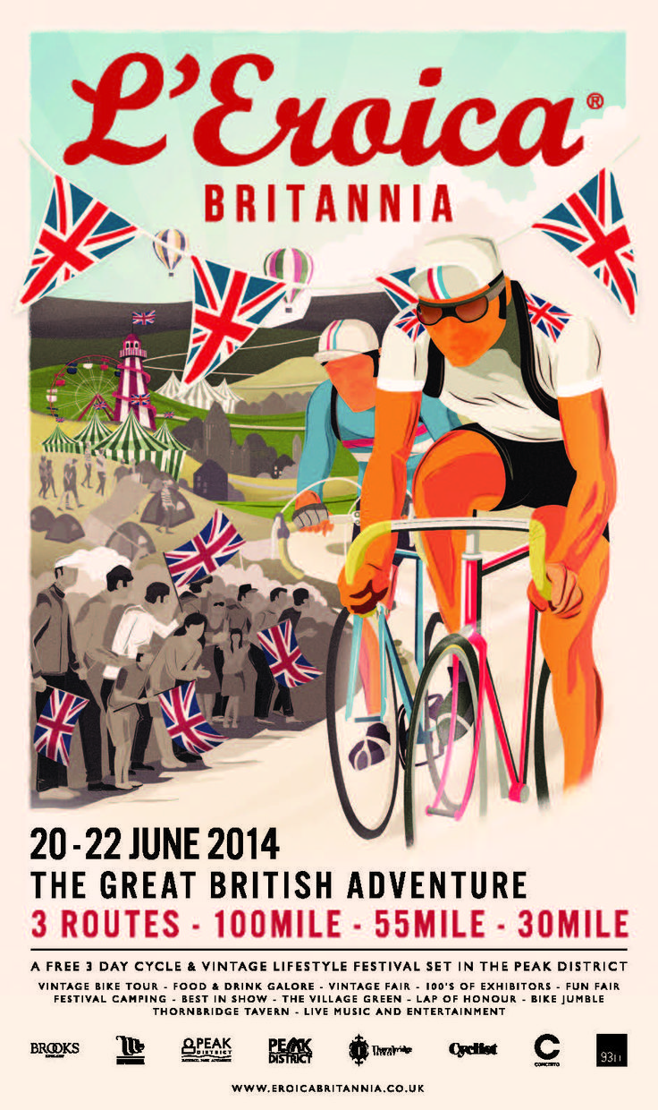Poster for L'Eroica Britannia which is happening in the Peak District between the 20th and 22nd of June 2014.