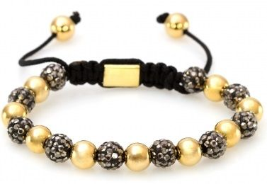 - Gold and Gunmetal sparkle Shamballa Bracelet - Acetate and metal beads expertly braided with quality nylon - Half beads gold, half beads gunmetal sparkle  - Traditional shamballa style - Adjustable size for all wrists - Customized POSH bead -Dimension: 5.95 inches at tightest, 9.5 at loosest