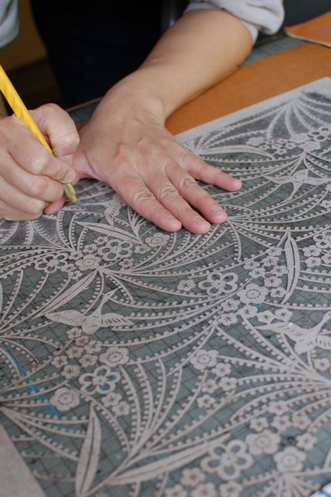 stencil cutting for hand painted kimono