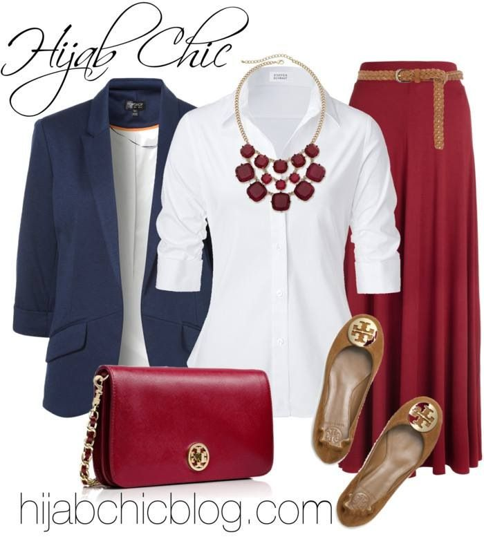 Red skirt, bag, necklace, white collar shirt, navy blazer, tan flats …
