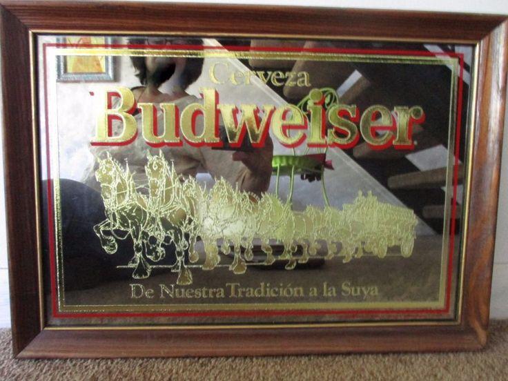 Vintage Cerveza Budweiser Mirror w/Gold Clydesdale Wood Framed 20.5 x 15 #cervezabudweiser