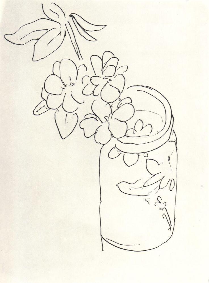 Matisse Contour Line Drawing : Henri matisse quot fleurs dans un pot en verre