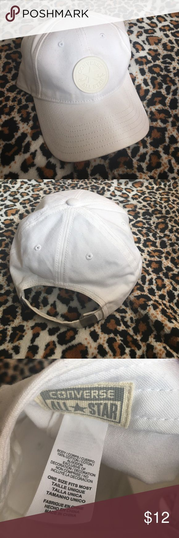 Converse All Star White Baseball Cap All White Chuck Taylor Converse cap only worn once! Apologize for the make up stain on the inside, hence the deep discount! Converse Accessories Hats