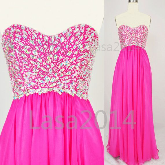 2014 Prom Dresses Pink Prom Gown Strapless Crystal by LASA2014, $159.00