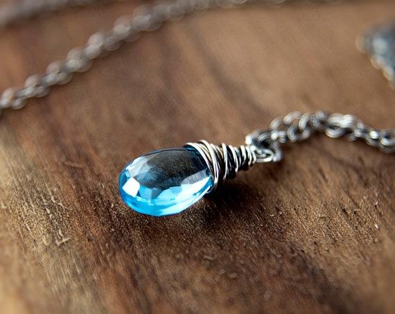 Sky Blue Topaz Necklace December Birthstone Aqua by PoleStar
