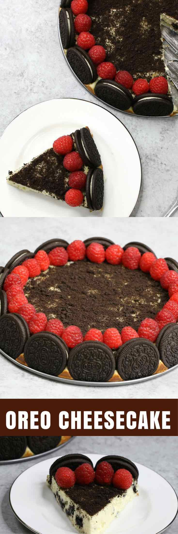The Best Oreo Cheesecake – the easiest and most beautiful cake topped with cookies and cream crumbs and fresh raspberries. All you need is a few simple ingredients: oreo cookies, cream cheese, sugar, vanilla, eggs, sour cream and raspberries. Great for dessert, brunch, birthday parties or Mother's Day. Video recipe. | tipbuzz.com