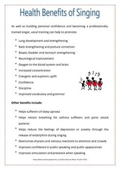 A handout containing information on a study that was done into the benefits of singing.   :-)   More Freebies from Aussie Music Teacher at: http://www.pinterest.com/kimmd123/aussie-music-teachers-freebies/