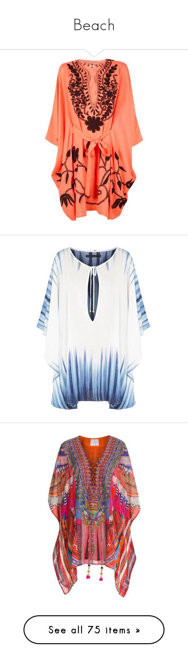 """Beach"" by sara-488 ❤ liked on Polyvore featuring dresses, tops, kaftan, vestidos, swimwear, coral, tie belt, pas pour toi, beach caftan and beach kaftan"