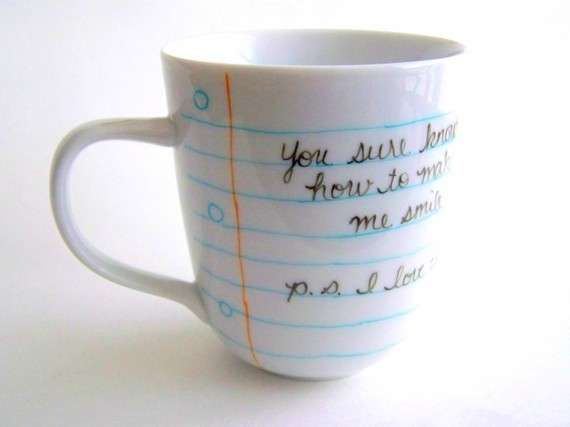 Handwritten Cup Designs - The Notebook Paper Coffee Mug Provides a Personalized Start to Your Day (GALLERY)