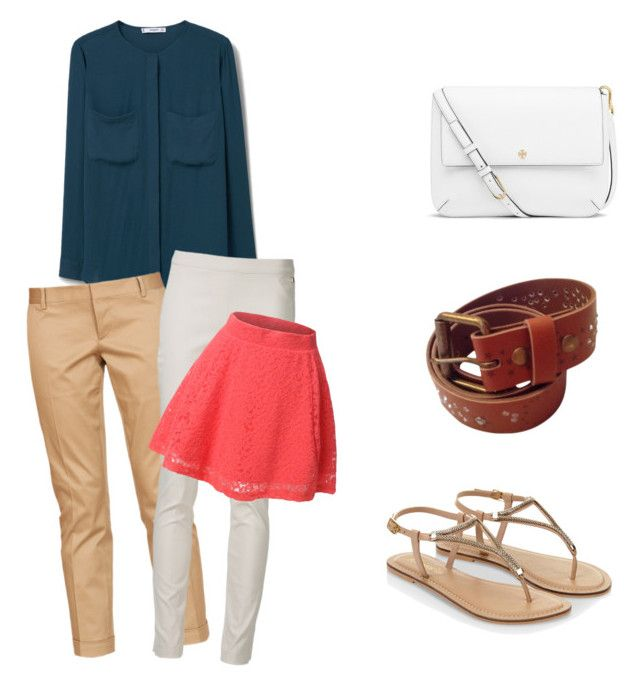 """""""Simple classic formal navy top"""" by ivanaputri on Polyvore featuring MANGO, Dsquared2, Bel Air, Twin-Set, LE3NO, Accessorize and Tory Burch"""
