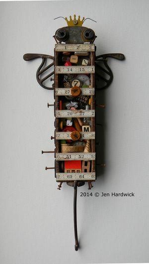 """""""Collector Bee"""" -Art assemblage/Box art by Jen Hardwick jen-hardwick.com  www.etsy.com/shop/redhardwick"""