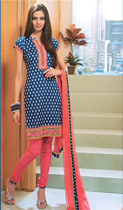 Electric Cotton Dress Material with pure chiffon dupatta