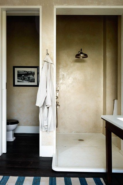 A small space walk In Shower wetroom with tadelakt plaster walls. Discover small space bathroom design ideas on House & garden.