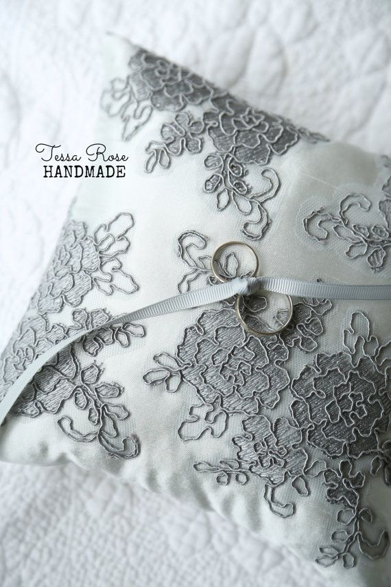 French Lace & Silk Something Blue Ring Pillow by TessaRoseHandmade