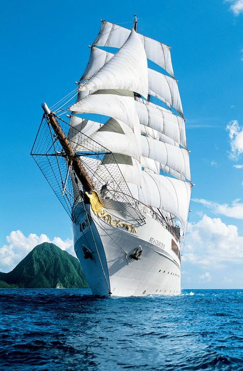 """The """"SEA CLOUD II"""" is a square rigged, three-masted, steel hulled barque used as a cruise ship."""