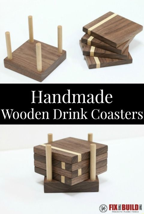 #woodworkingplans #woodworking #woodworkingprojects With a few pieces of wood and a few tools you can make these DIY Wooden Drink Coasters. This homemade coaster set is a great housewarming or hostess gift