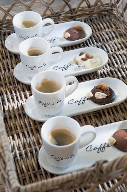 Cute menu idea! A cup of coffee and a piece of chocolate.