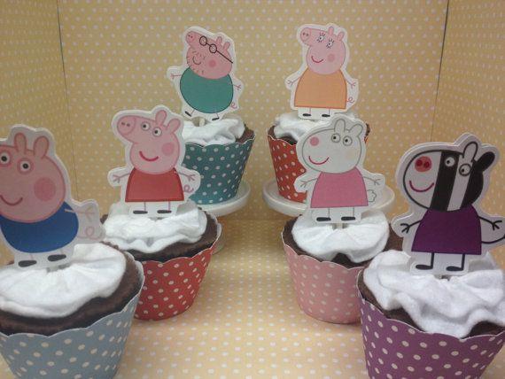Peppa Pig Cupcake fiesta de cumpleaños por PartyByDrake en Etsy