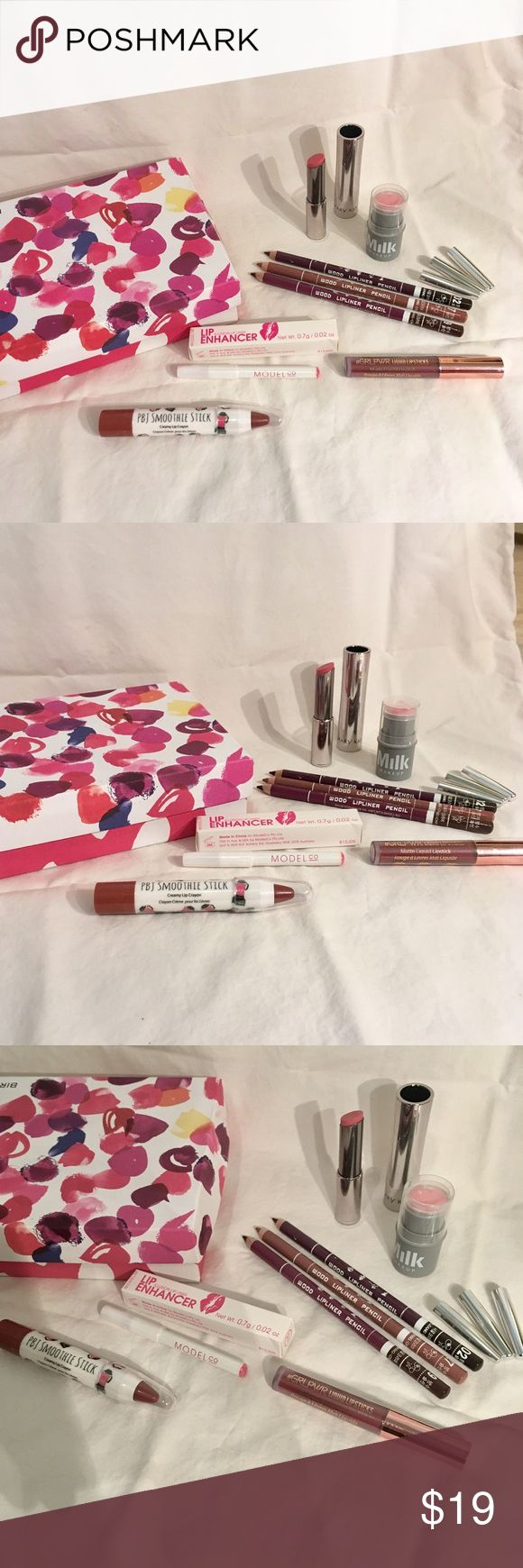 Lip service bundle set! New brands! New.  XOXO with box. All new, never used. This bundle is everything for lips and stacked in the pyramid a red. 8 items! Milk Makeup Lip+Cheek 0.1oz  Mary Kay twist lipstick full size color me coral 3 Davis Cosmetics wood lipliner pencils in blossom, plum and maroon.Full size. Matte Liquid lipstick #GRLPWR by beauty crop liquid lipsticks.Cruelty free.Color: Imma Bawse Lip Enhancer Illusion Lipliner by the Model Co. Color:Babydoll pink 0.02oz PBJ Smoothie…