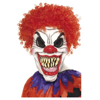 Eng clown masker met haar voor volwassenen. Het enge clown masker is gemaakt van…