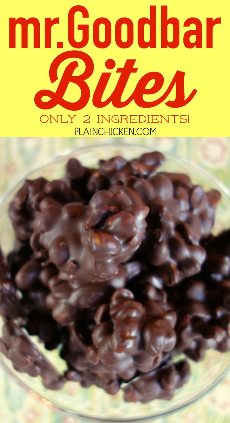 Mr. Goodbar Bites - only 2 ingredients! Takes a minute to make and people go nuts over these things! Great for holiday gifts and parties.