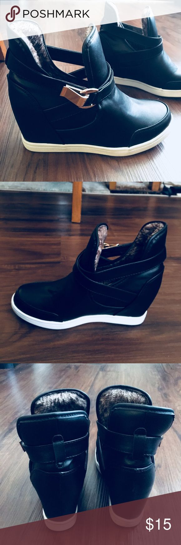 """Sneaker Wedges with Gold Buckle Detail Size 7 black faux leather sneaker 3"""" wedge height. Inside is warm faux fur material. Brand new, never worn. Incredibly comfortable and warm for the winter! Jio & Ja Shoes Wedges"""
