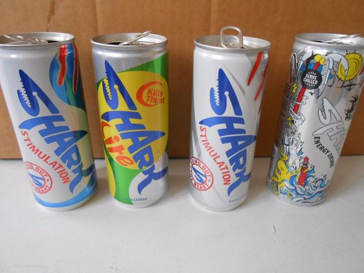SHARK  ENERGY DRINK - 4  DIFFERENT EMPTY CANS  FROM CYPRUS 1 IS LIMITED EDITION