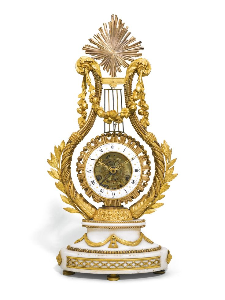 A LOUIS XVI ORMOLU AND WHITE MARBLE LYRE MANTEL CLOCK, JEAN-CHARLES POCHON, PARIS, CIRCA 1785