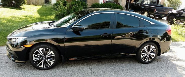 Our new 2016  Honda Civic EX-L Black w/Black Leather. Windows Tinted 15% (Plans for Rims & getting all the chrome wrapped Black)