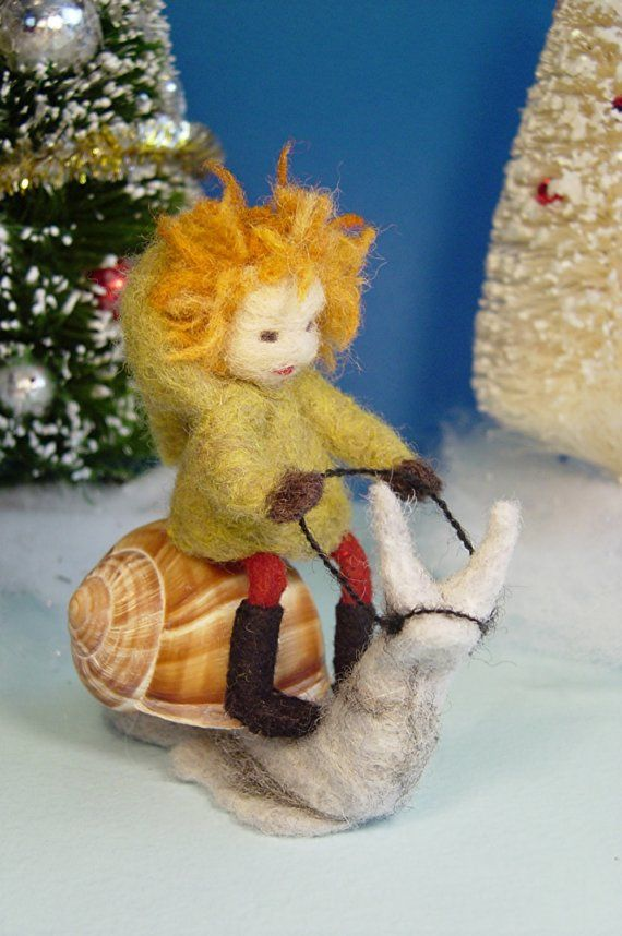 Brownie Riding a Snail (needle felted)