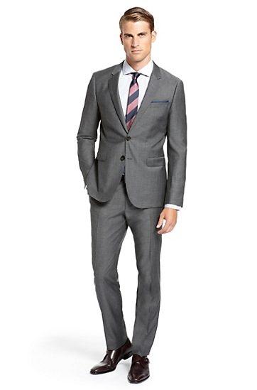 GROOM:  Groom-Extra Slim Fit Wool Blend 'Ryan/Win' Suit by BOSS  Model Ryan/Win 50230185 Dark Grey