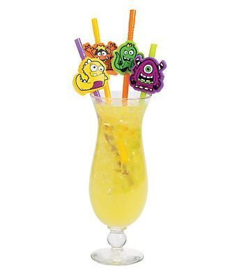 Monster Party Straws (12) .  These will be great fun for your next monster or Halloween spooky themed get-together!! Fun beverage decoration for your party table.  Assorted colours; plastic. 12 per set. Each 21.6 cm bendable straw includes a 1.27 cm - 5.08 monster face.