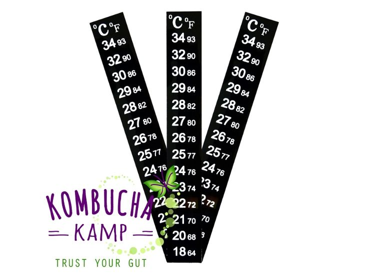 Accurate and easy to read temperature measurement for Kombucha brewing vessels. The vertical strip thermometer adheres to outside of your brewing vessel for an accurate and easy to read measurement in both Fahrenheit and Celsius.    The ideal temperature range for brewing Kombucha is 72-85 F. With this easy to apply strip, you will have an accurate reading at all times.    It is not recommended to put any vessels with a strip attached through the dishwasher. The adhesive is...