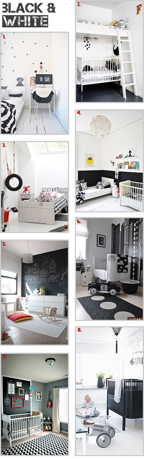 Black & white in childrens room and nurseries.
