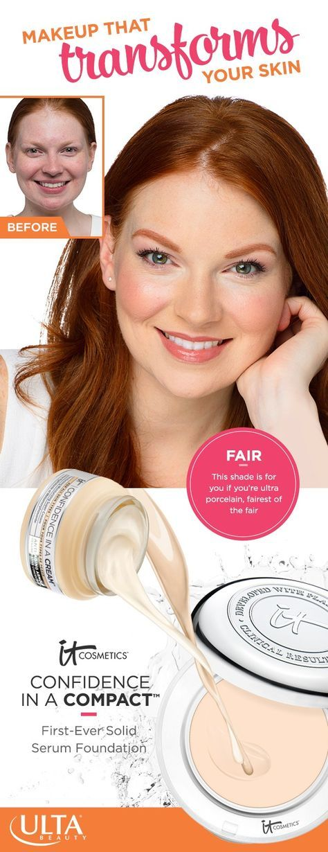 IT Cosmetics Confidence in a Compact foundation in Fair: perfect for ultra porcelain skin—the fairest of the fair skin tones. This full coverage makeup doesn't just hide imperfections. It transforms skin and has all the hydrating and anti-aging benefits of Confidence in a Cream with SPF 50+.