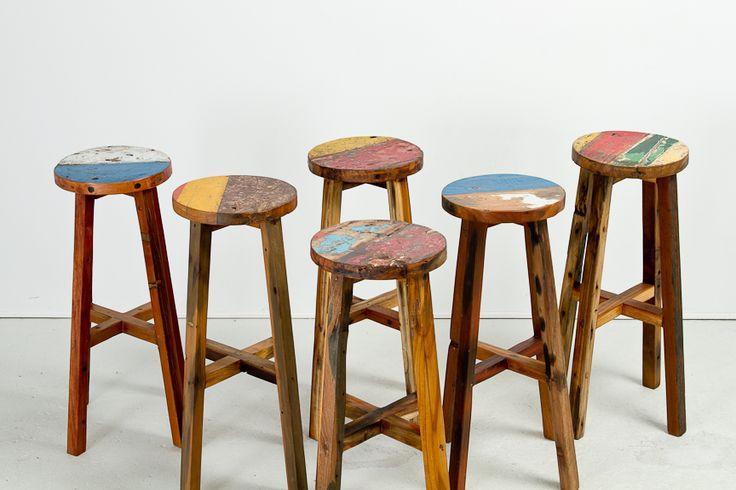 "Cahaya Oli Bar Stool   Reg $290 SALE $247   Boatwood #barstool with colourful seat   Dia17"" x H30"" x Seat Dia11.75"" #boatwood #seating #teak #colour #beach #furniture"