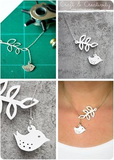 Shrink plastic jewelry - by Craft & Creativity.  I once found a great dinosaur silhouette necklace in silver, and just realized I could make my own in shrink plastic.