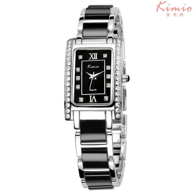 KIMIO Square Rectangle Rose Gold Watch Rhinestone Ladies Bracelet Luxury Watch Women Brand Quartz Wrist Watches For Women Casual