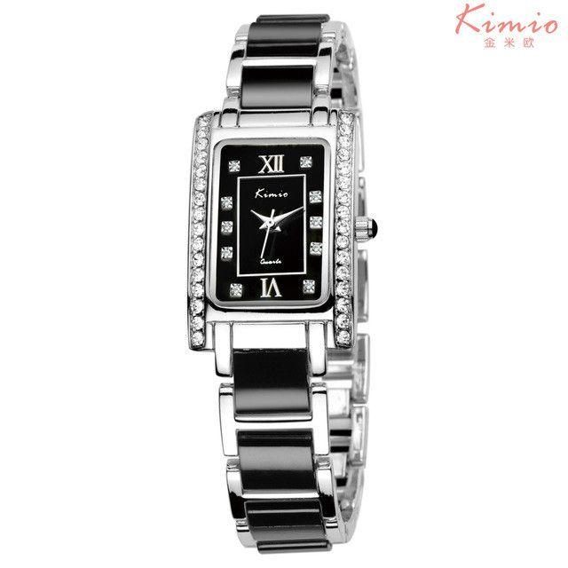 KIMIO Square Rectangle Rose Gold Watch Rhinestone Ladies Bracelet Luxury Watch Women Brand Quartz Wrist Watches For Women Casual