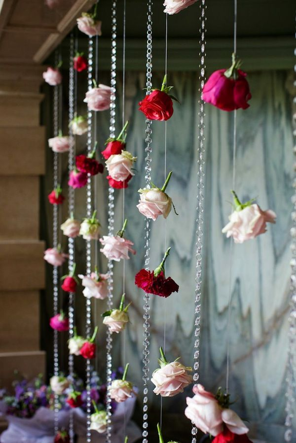 Hanging wedding flower curtains/ backdrops | See more about Flower Backdrop, Wedding flowers and Backdrops. More