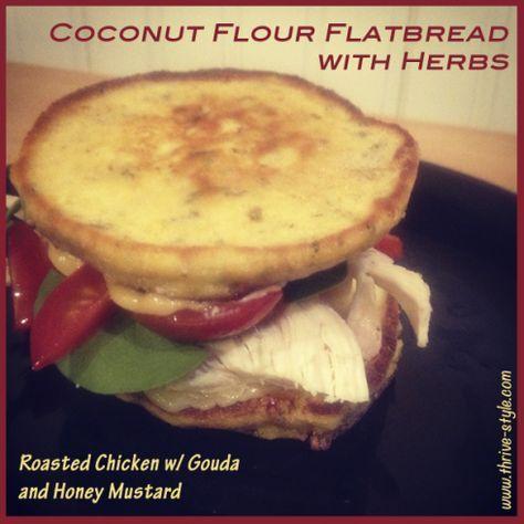 Coconut Flour Flatbread Sandwich (with herbs!) - low carb 1 tsp coconut flour, 1 egg, 2 tsp liquid