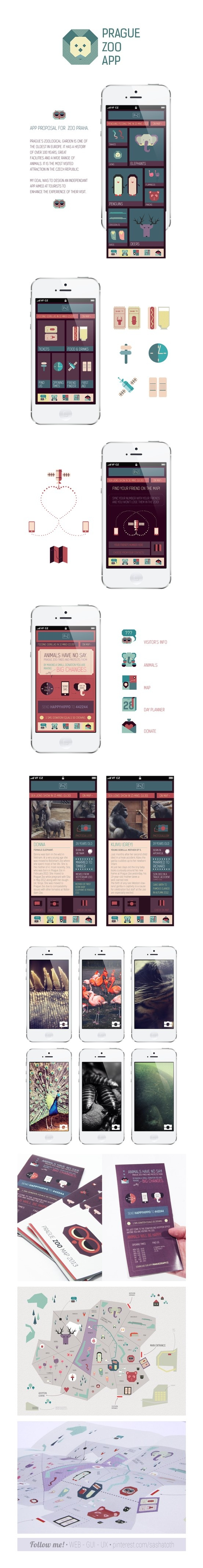 Excellent work - Prague Zoo application concept | Designer: Alina Kotova #iphone #app #gui #ios