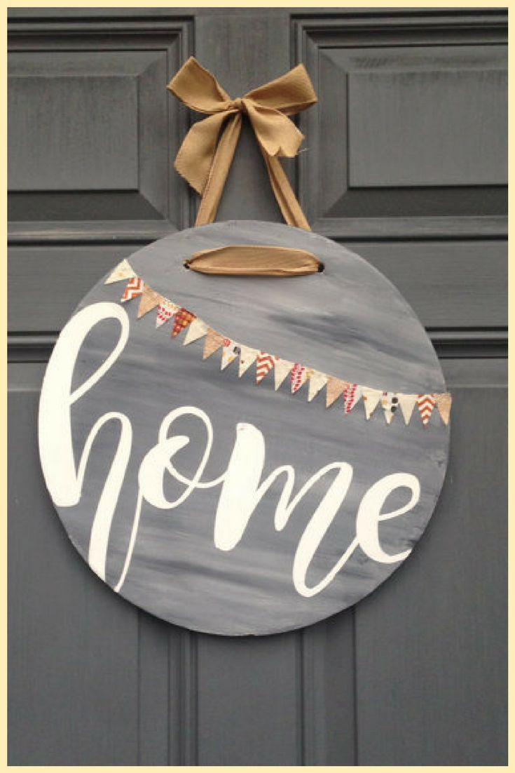 Front Door Home Hanging Sign  #HomeDecor #WallArt #Ad #Farmhouse #Cottage #Rustic #FixerUpper #HomeDecor #FixerUpper #Home #DoorHanger #Porch
