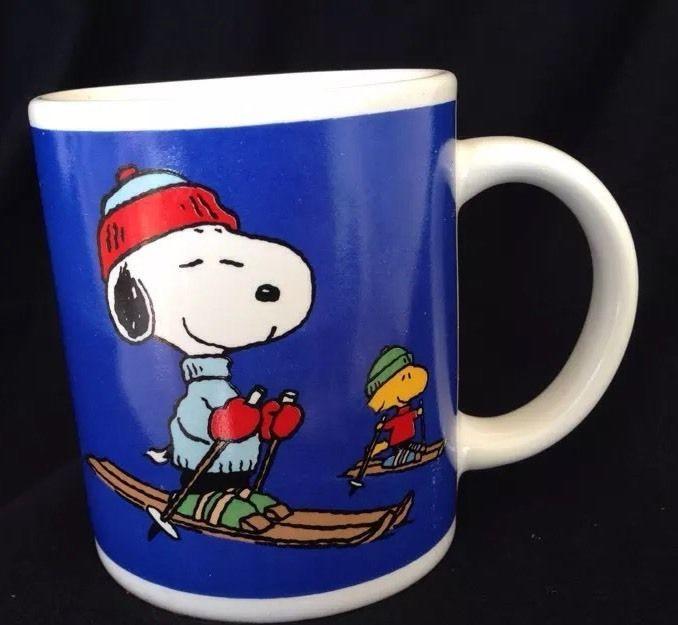 Snoopy Ski Mug Peanuts Woodstock Winter Blue Skiing Coffee Cup