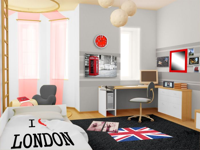 d coration d 39 une chambre d 39 ado style urbain londonien d co murale avec des cadres photos. Black Bedroom Furniture Sets. Home Design Ideas