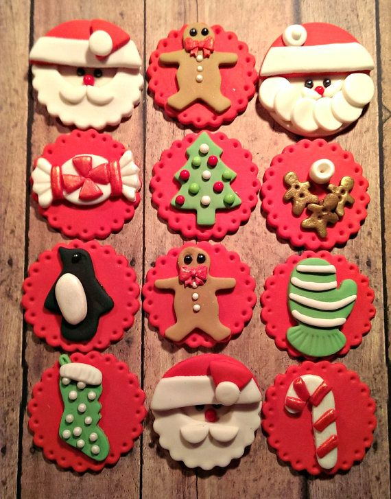 Christmas Fondant Cupcake, Cake, Cookie Toppers. Set includes 12 (one dozen)