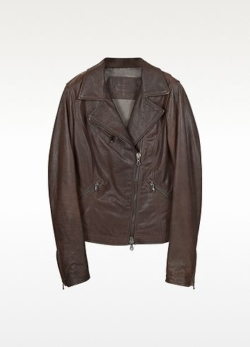 $570, Dark Brown Leather Jacket: Forzieri Brown Leather Motorcycle Jacket. Sold by Forzieri. Click for more info: https://lookastic.com/women/shop_items/28287/redirect